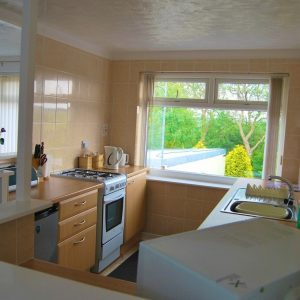 Coed Cottages Llinos Apartment Kitchen cooker area