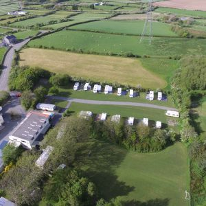 Aerial view of Coed Cottages Camping Field
